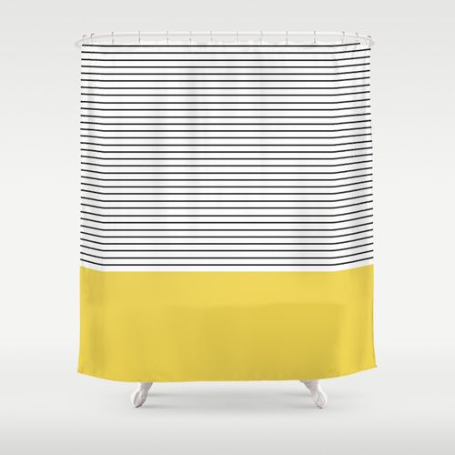 MINIMAL Green Stripes Shower Curtain by Allyson Johnson | Society6