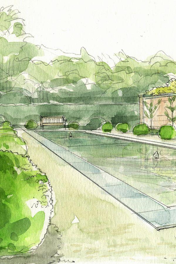 Garden Design Aquarelle Jardin Eau With Images Landscape