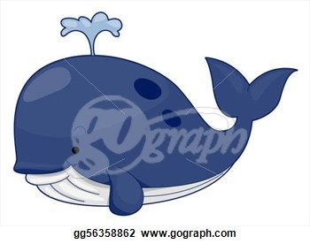 Drawing - Cute whale. Clipart Drawing gg56358862 - GoGraph