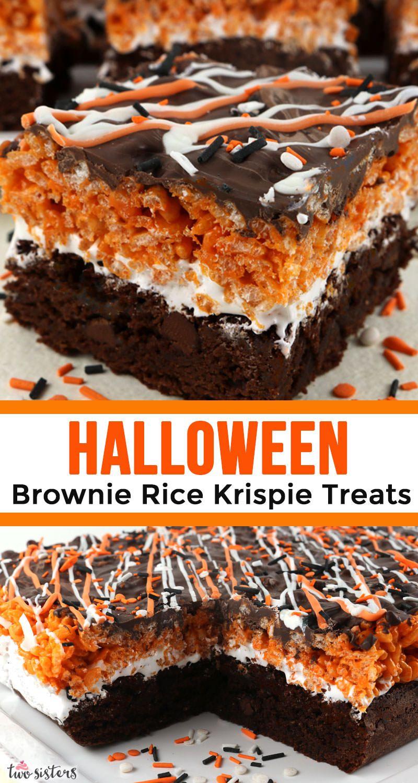 Halloween Brownie Rice Krispie Treats #halloweenbrownies