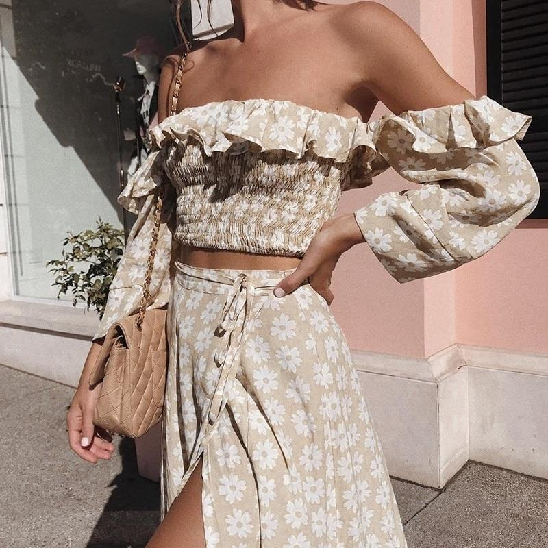Floral Print Off Shoulder Ruffle Two Piece Dress