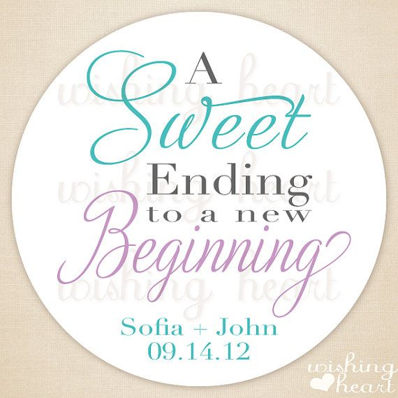 Thank You Favor Sticker Sweet Ending To A New Beginning Candy Buffet Bar 240 2 Inch Stickers For Wedding Or Bridal Shower