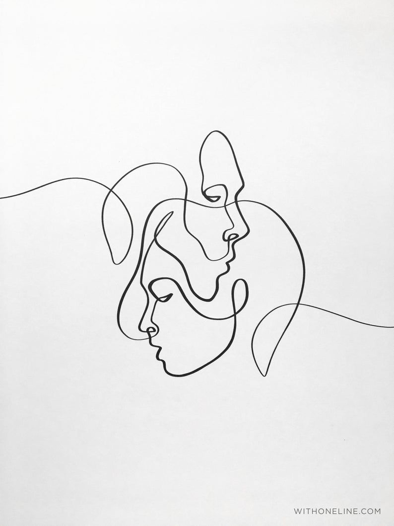 Druckbare abstrakte einer linie paar minimal eine