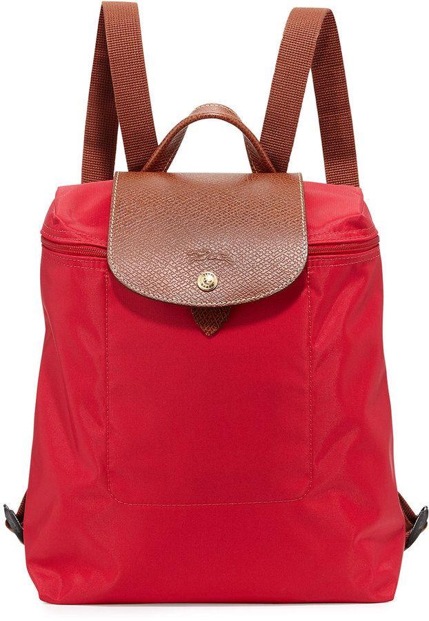 Longchamp Le Pliage Nylon Backpack, Red Garance