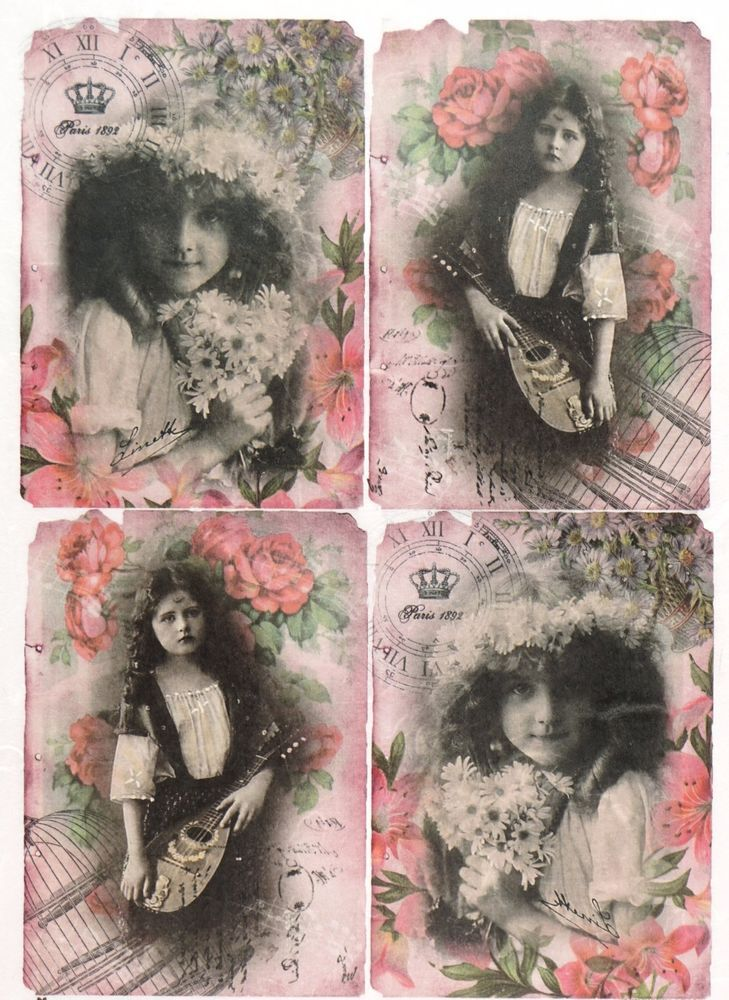 Rice Paper for Decoupage Decopatch Scrapbook Craft Sheet Vintage Parisian Girls