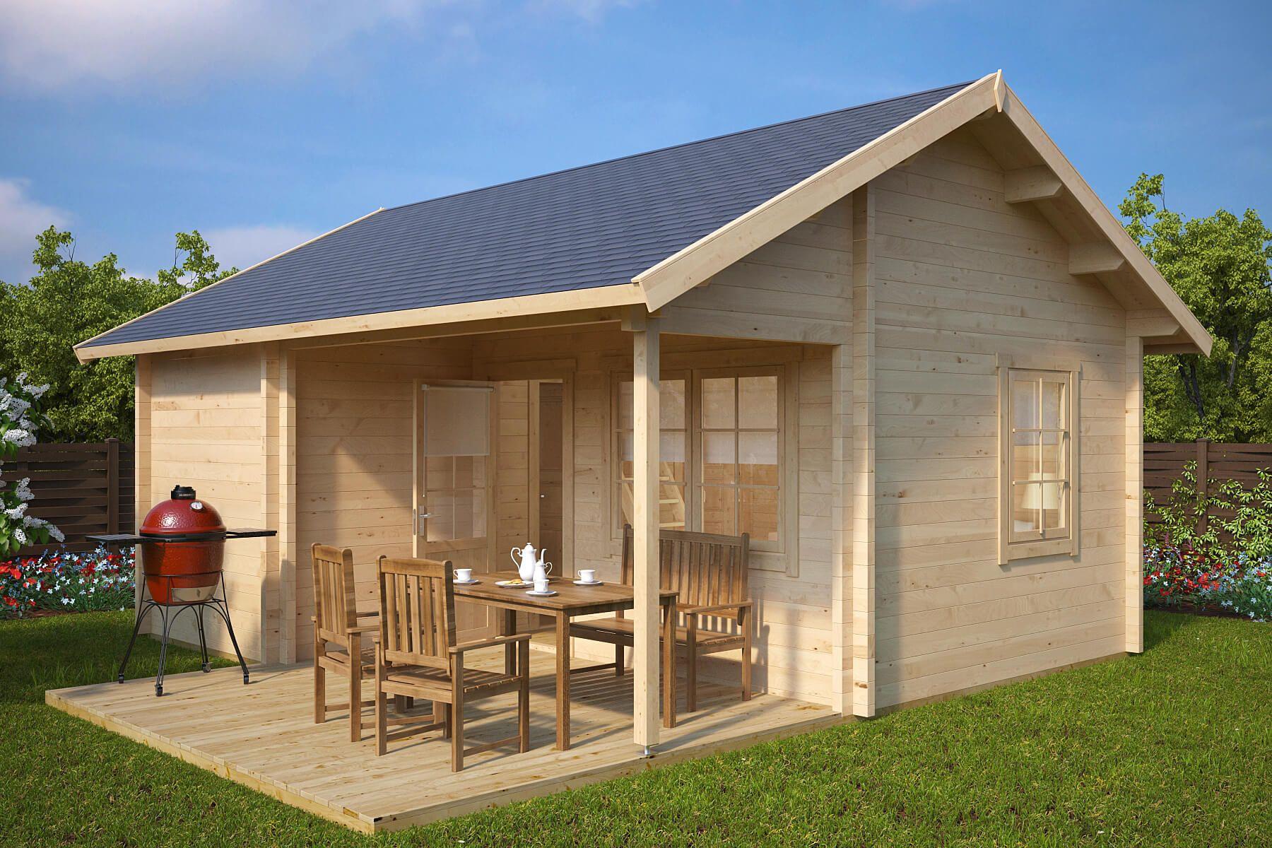 Grosses Gartenhaus Mit Terrasse Oklahoma 26 4m 70mm 5x6 Ferienhaus Kaufen Gartenhaus Mit Terrasse Sommerhaus