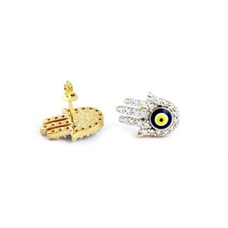 14K Gold Hand of Fatima or Hamsa Evil Eye Earrings with high