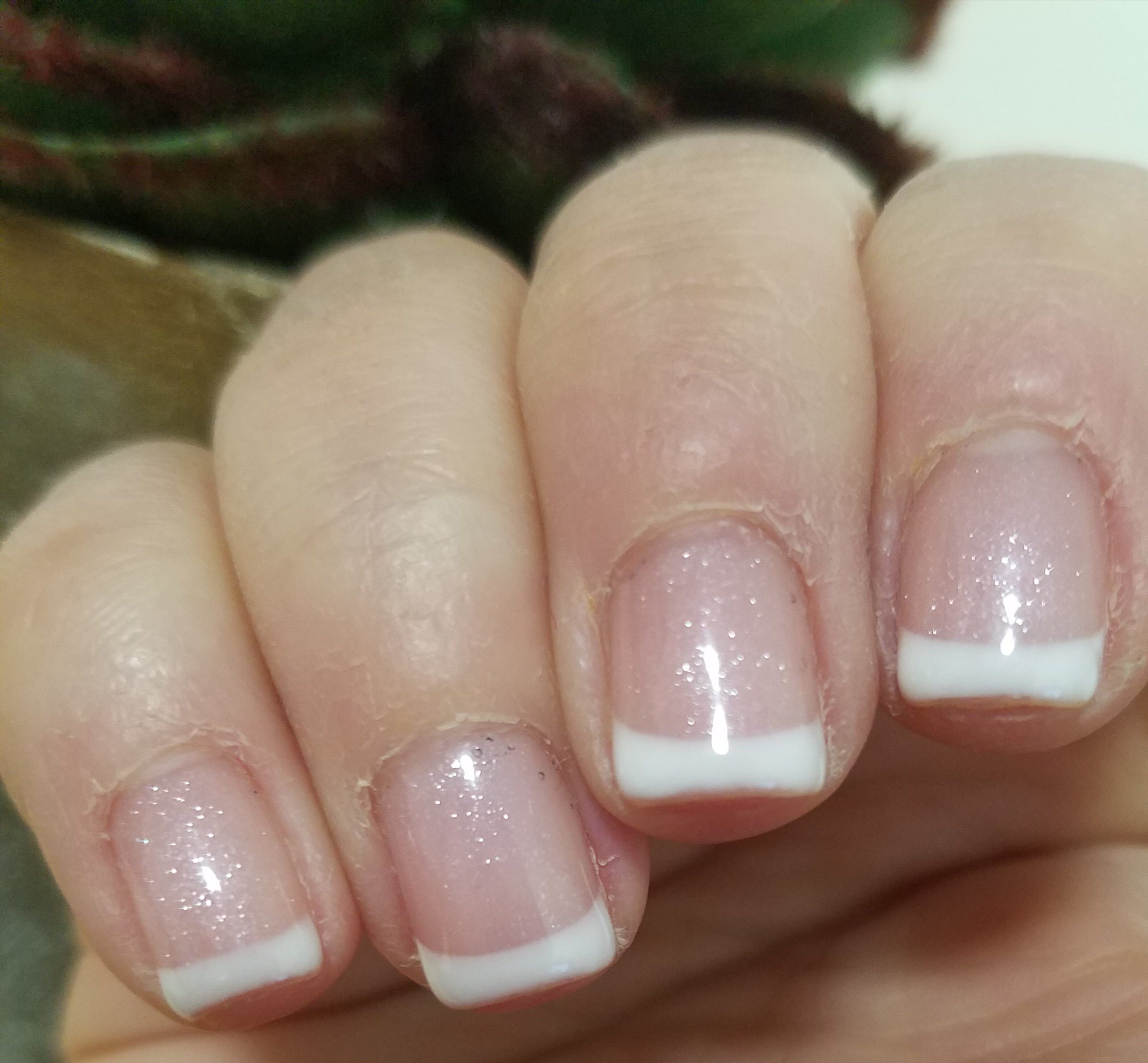 Nice Short Gel French Manicure Love The Touch Of Sparkle In The