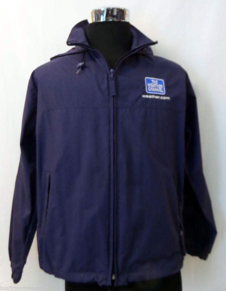 c992fb242 L.L. Bean The Weather Channel Jacket Navy Blue Men Hood Logo M Medium