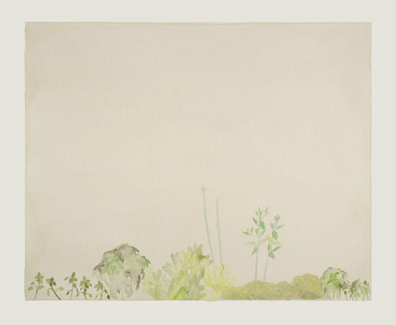 """The Reality of a New York City Garden , gouache on paper, 16 """" x 20"""", 2009"""