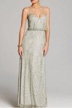 b4add98a5de3 Adrianna Papell Mist Green Art Deco Beaded Blouson Gown Dress ...