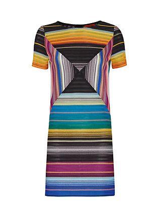 Missoni Short Sleeve Abstract Knit Shift Dress
