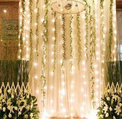 2 Backdrop at wedding - curtains, lights and greenery Rentals for - halloween decoration rentals