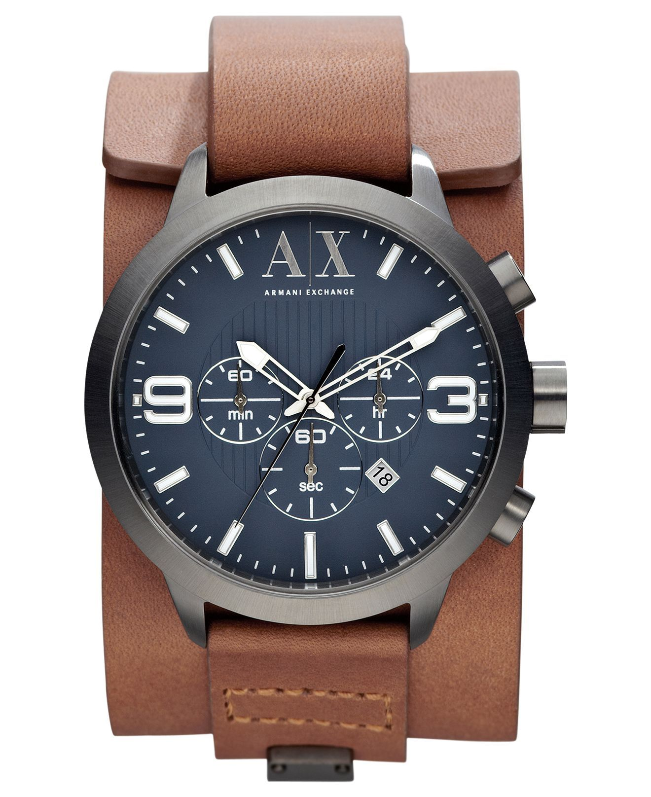 ceac607f492f A|X Armani Exchange Watch, Mens Chronograph Brown Leather Cuff Strap 48mm  AX1274