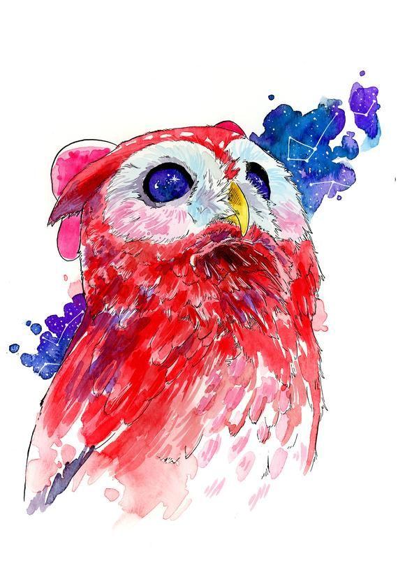 Photo of PRINTABLE Celeste the Stargazer Watercolor Art