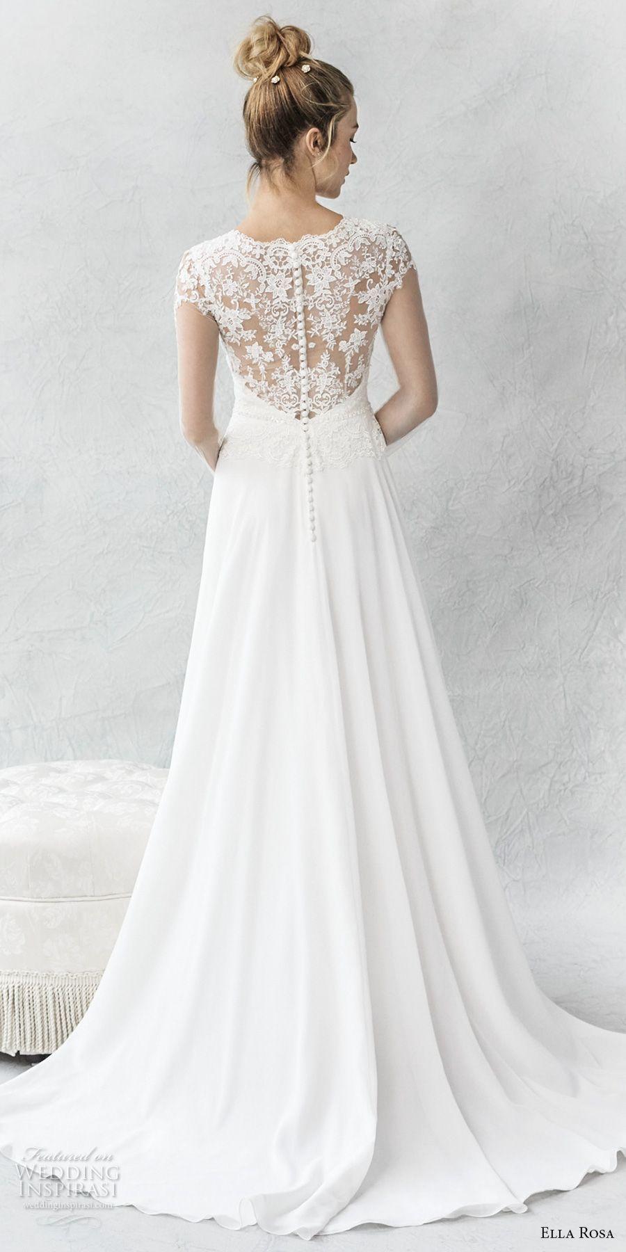 Ella rosa spring bridal long sleeves illusion jewel sweetheart