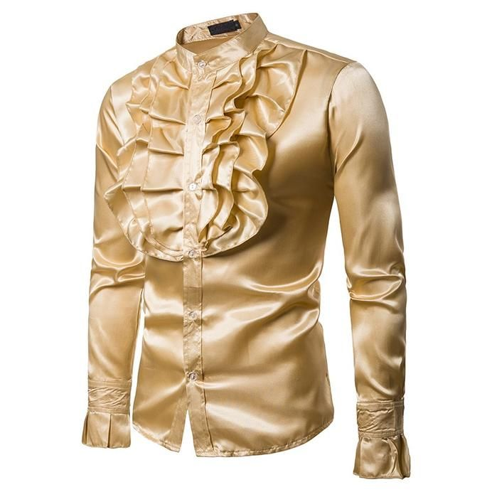347ceddd Satin Solid Glow with Ruffles Detail Men Long Sleeves Shirt – FanFreakz