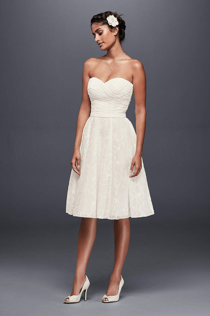 David S Bridal Has A Variety Of Beach Destination Wedding Dresses In Short Casual Simple Wedding Dresses Strapless Casual Wedding Dress Short Wedding Dress