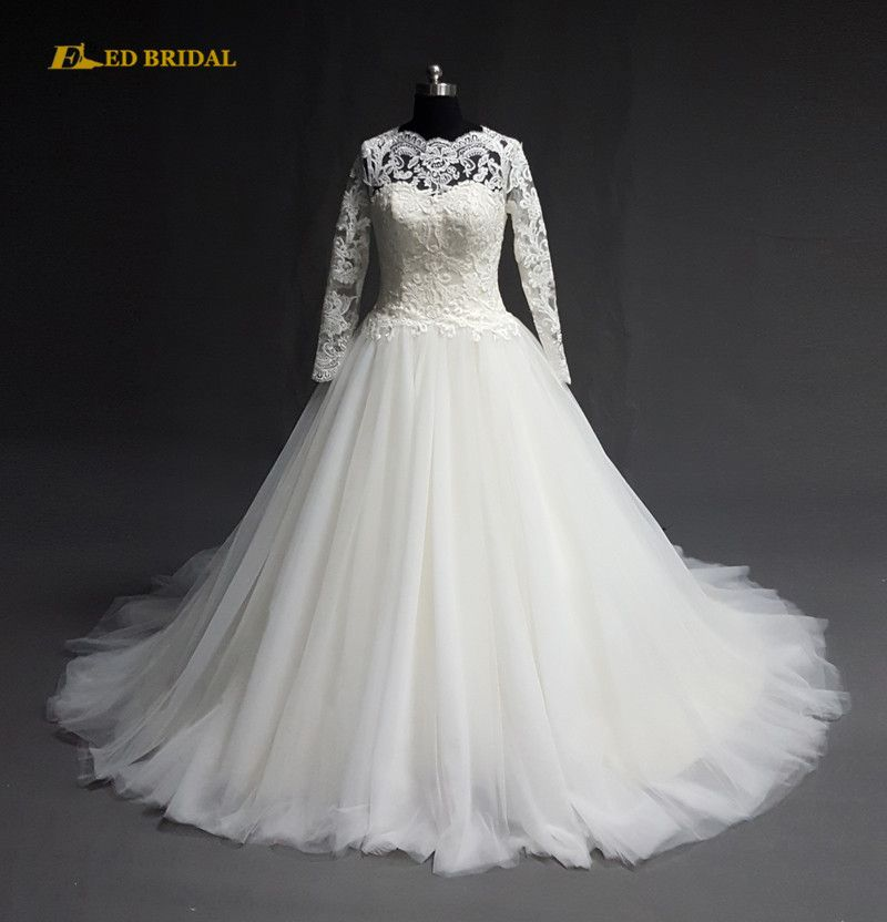 Sri Lanka Wedding Gown Long Sleeve Layers Tulle Skirt Real Sample