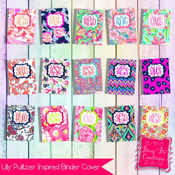 Lilly Pulitzer Inspired Binder Cover by BusyBsCreationsShop - binder spine template
