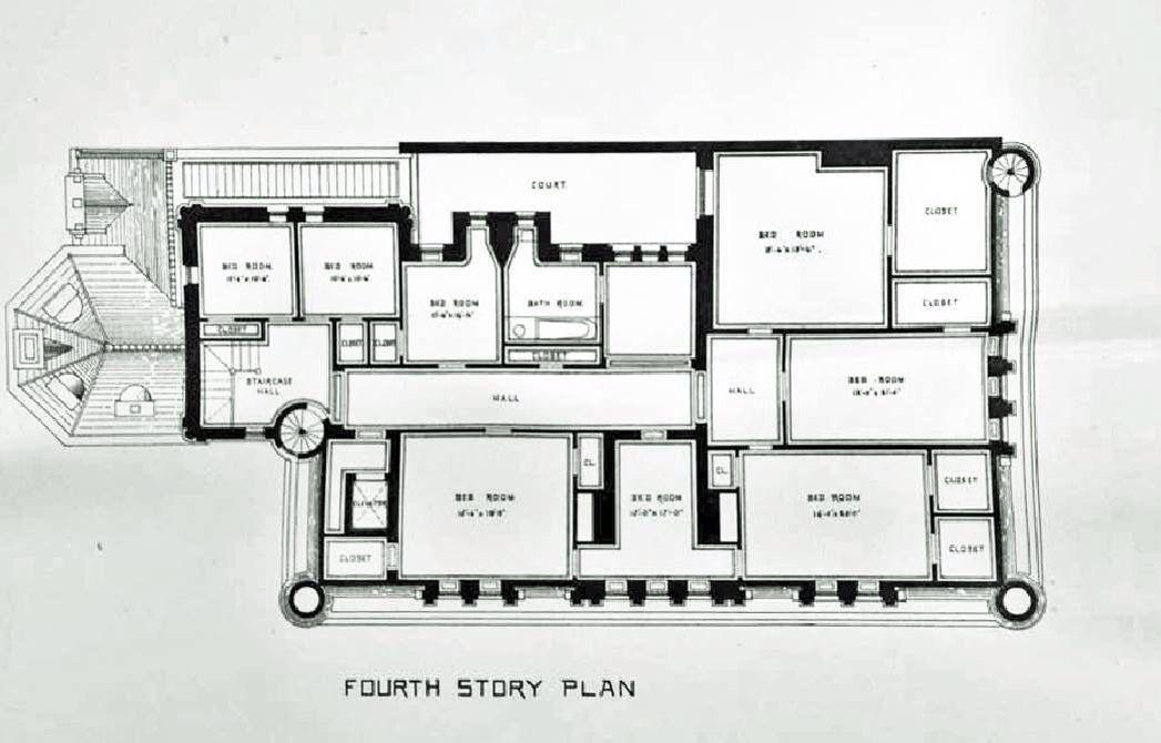 Cornelius Vanderbilt Ii House Original Post Design Prior To The Hunt Renovation Expansion 4th Floor Mansion Floor Plan Mansion Plans House Floor Plans