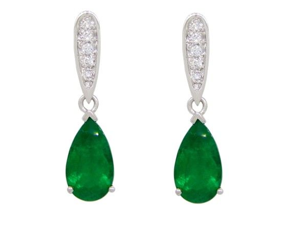 White Gold Emerald And Diamond Drop Dangle Earrings With 2 Pear Shape Natural Emeralds In 36 Ct T W 10 Round Cut Diamonds 0 07 By