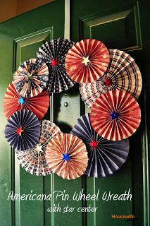 Housewife Eclectic: Americana Pin Wheel Wreath