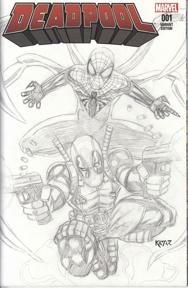 Deadpool #1 feat  Superior Spider-Man drawn sketch cover by