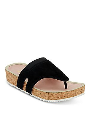 7ba3c8d33dd38 Taryn Rose Adelle Metallic Leather   Cork Thong Slide Sandals - Bl ...