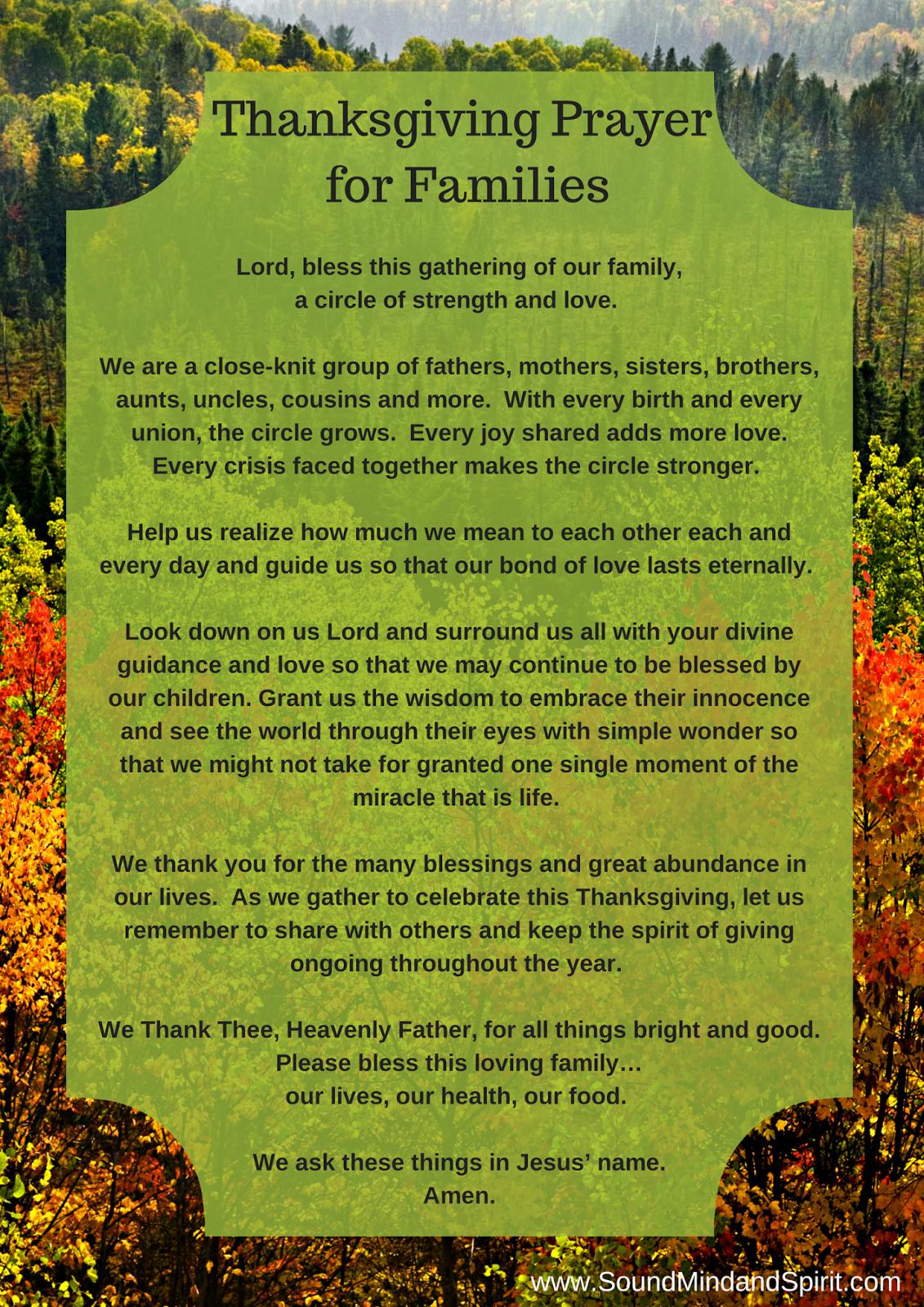 Blessings of Thanksgiving Thanksgiving Prayer for Family