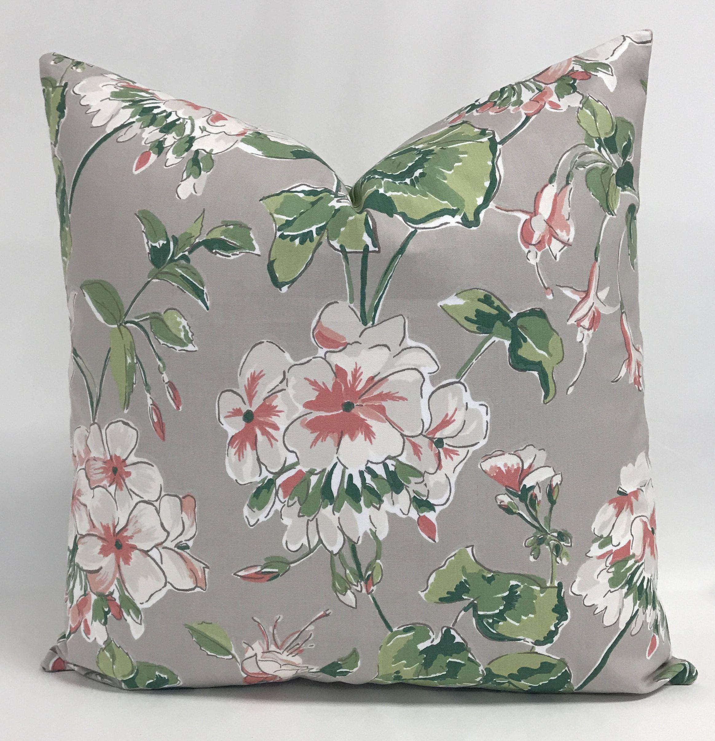 Pillow cover floral pillow geranium design pillow gray pink