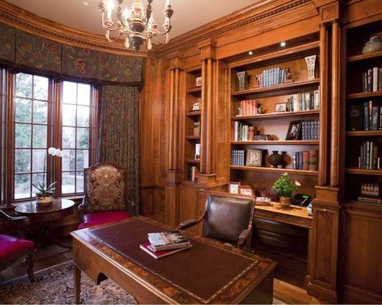 Home Office Built In Credenza And Bookcases Behind Desk Design