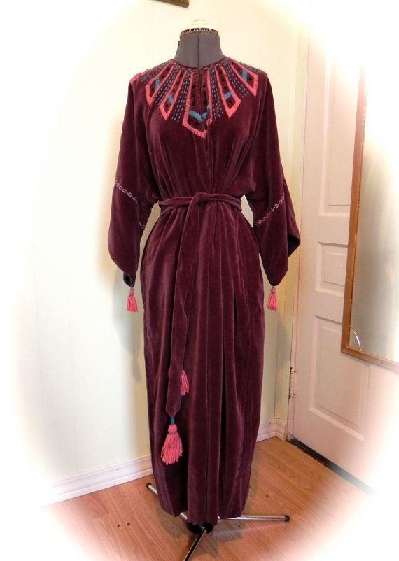 Amazing Antique Aubergine Velvet Vintage Art Nouveau Dressing Gown ...