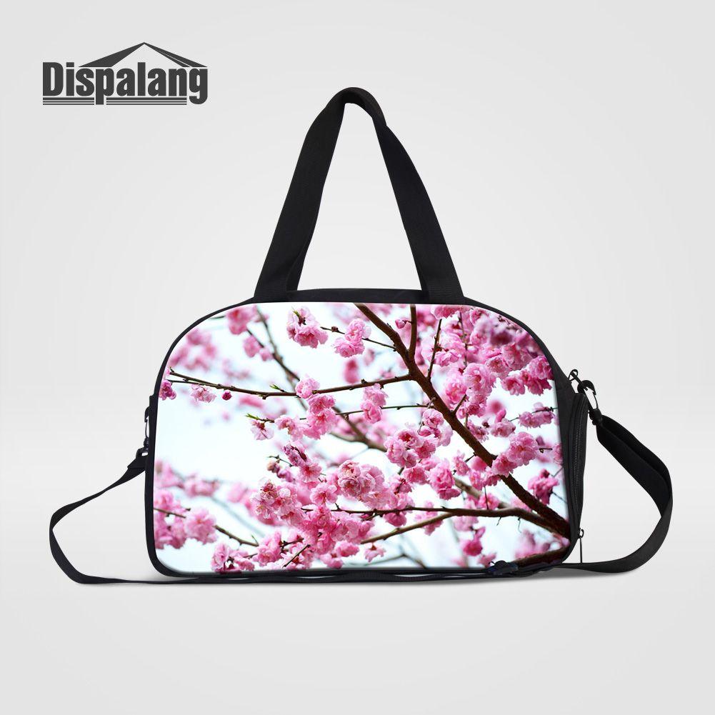 1cbd1335eaf9 Dispalang Hot Portable Women Travel Shoulder Hand bags Cherry Blossoms  Floral Girls Duffle Bag Womens Canvas Journey Duffel Bags