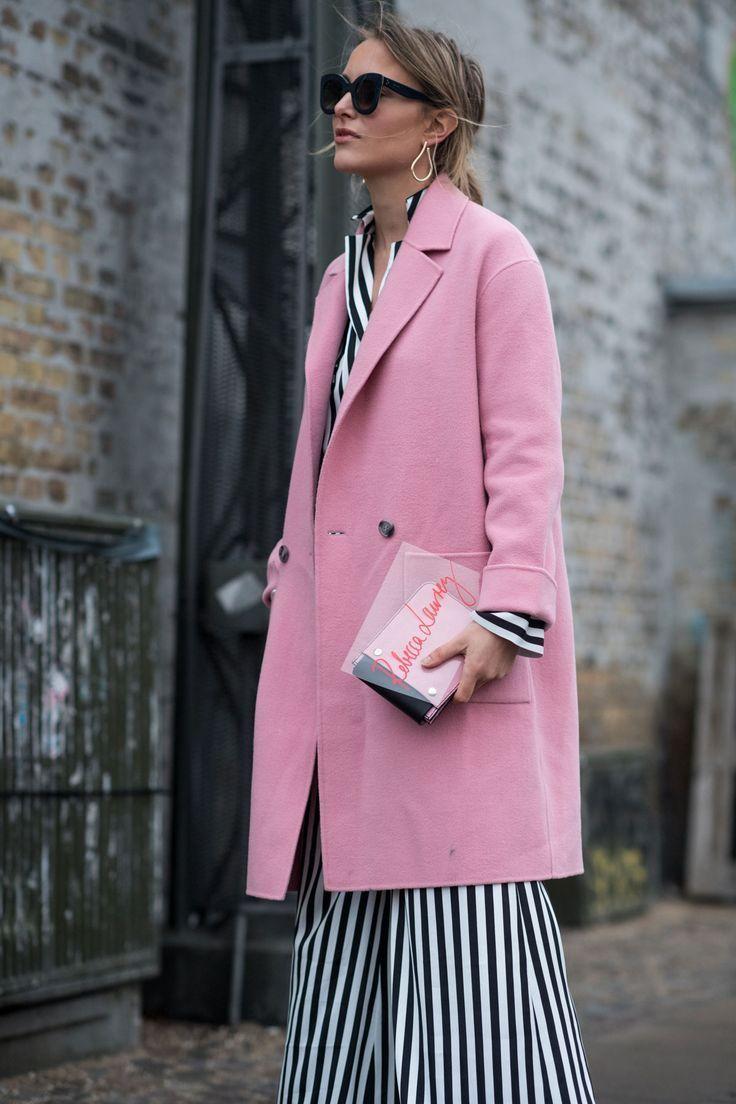 Pink overcoat over stripes womenswear u style pinterest street