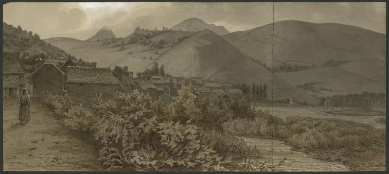 Eugène Viollet-le-Duc, vue de Tardets, juin 1833 Aquarelle Ministère de la Culture (France), Médiathèque de l'architecture et du patrimoine, dist. RMN