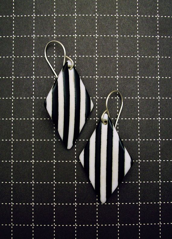 Ebony and Ivory Striped Porcelain Earrings  Large by sweetmud, $60.00