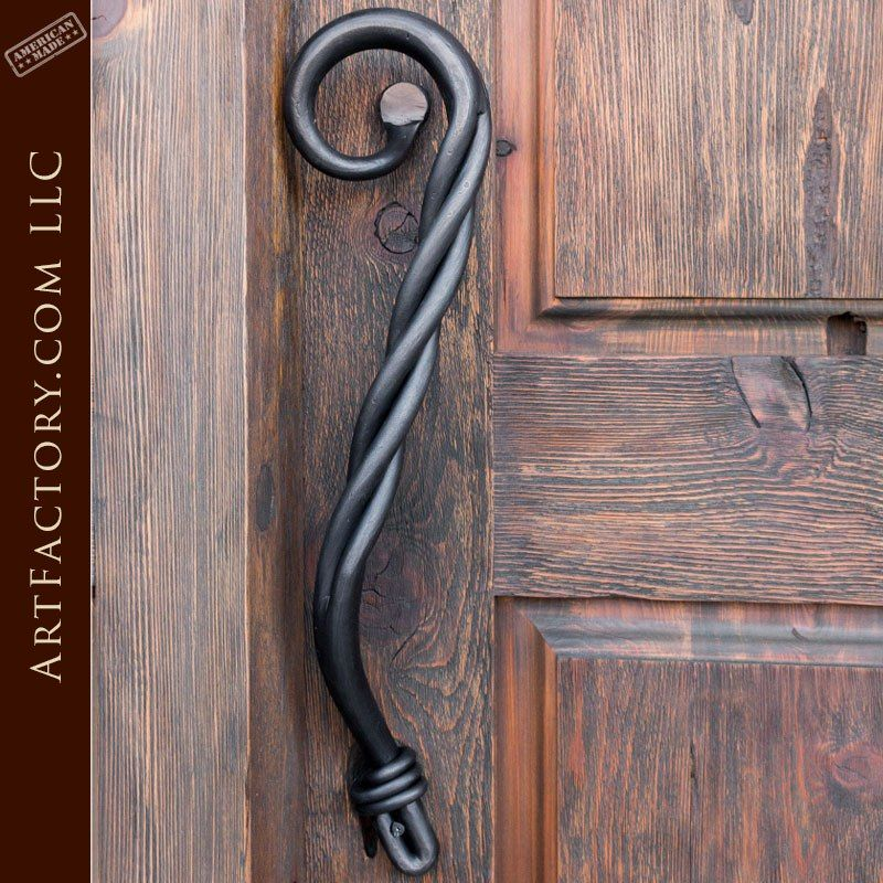 Custom Twist Door Pull Solid Hand Forged Wrought Iron Wrought Iron Doors Door Handle Design Custom Door Handle