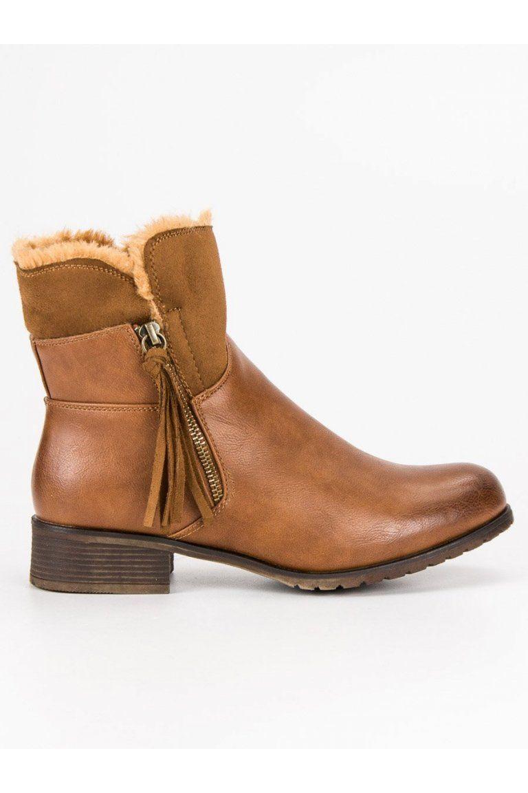 65955a6fc9e7 Zateplené dámske topánky béžové členkové čižmy Forever Folie ...