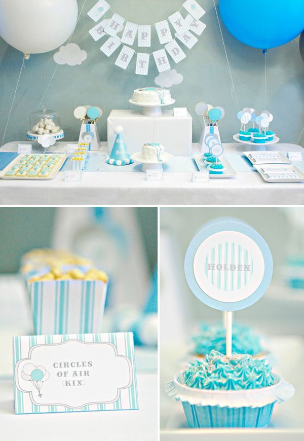 Real parties balloons themed birthday birthdays for Baby boy 1st birthday decoration ideas