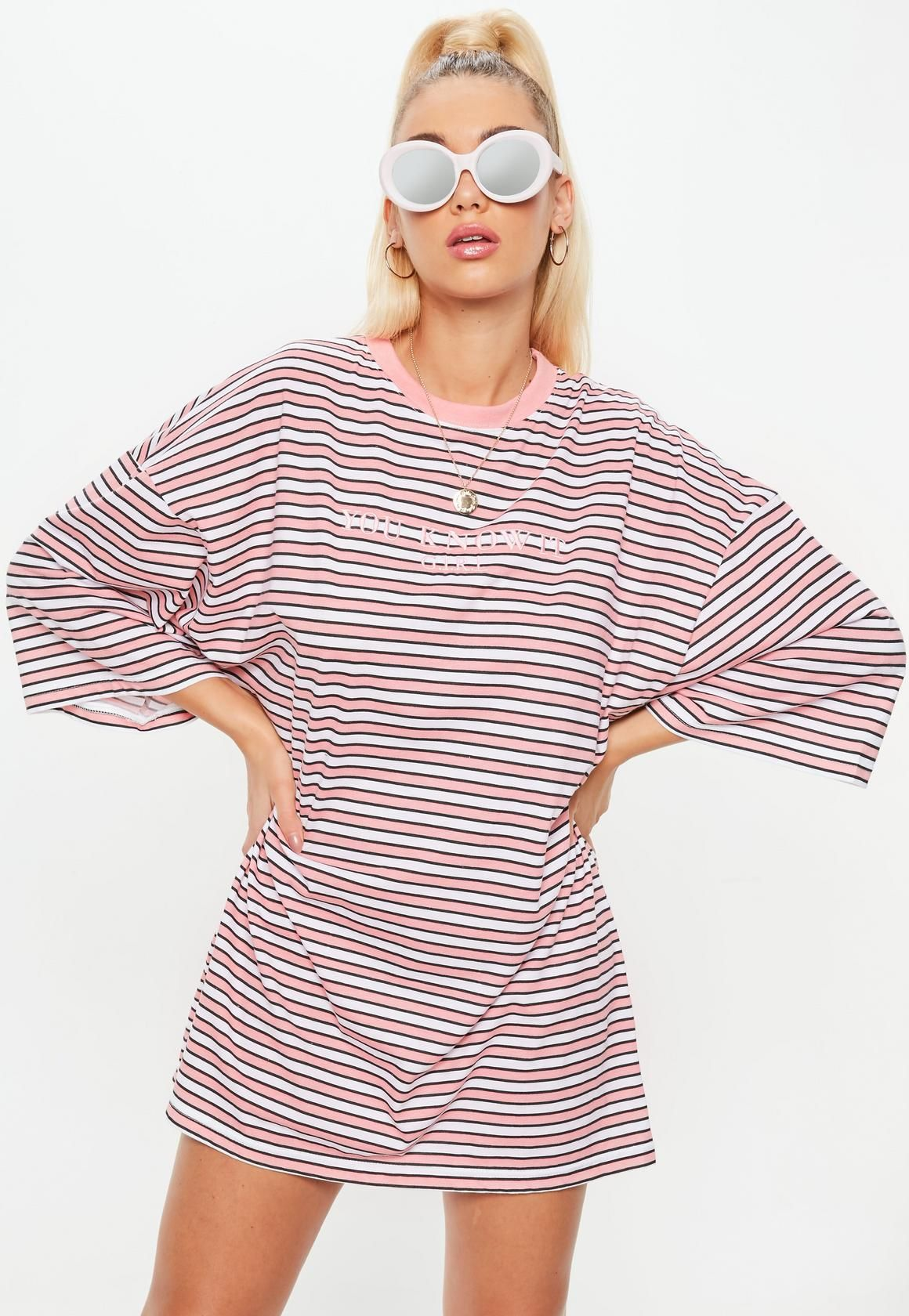 Missguided - Pink Oversized You Know It Girl Slogan Striped T-Shirt Dress 539f1a252