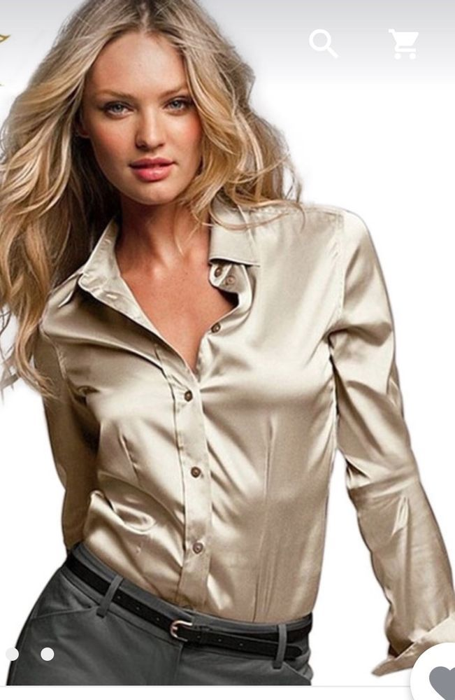 8732cd54cc7 women satin silk blouse button ladies blouse shirt golden long sl #guizu # Blouse