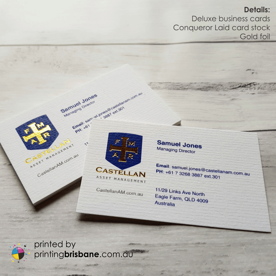 Such A Beautiful Tactile Business Card Card Stock Is The Traditionally Textured Conqueror Laid With Shiny Gold Brilliant Business Business Cards Card Stock