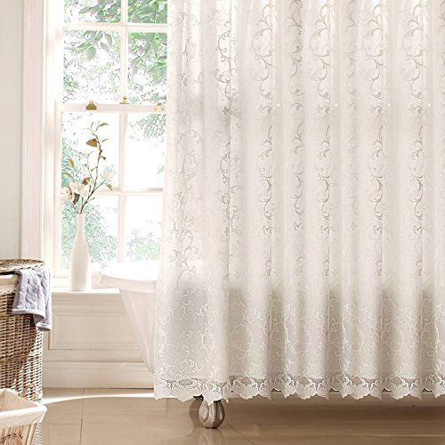 Luxury Victorian Lace Shower Curtain Cream Natural 71 Width X 71