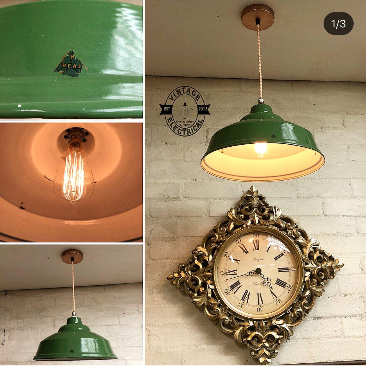 R E A L Green Enamel Coated Pendant Drop Light Vintage Lights 1920 1960 Vintage Electrical Ltd Drop Pendant Lights Vintage Lighting Farmhouse Lamps