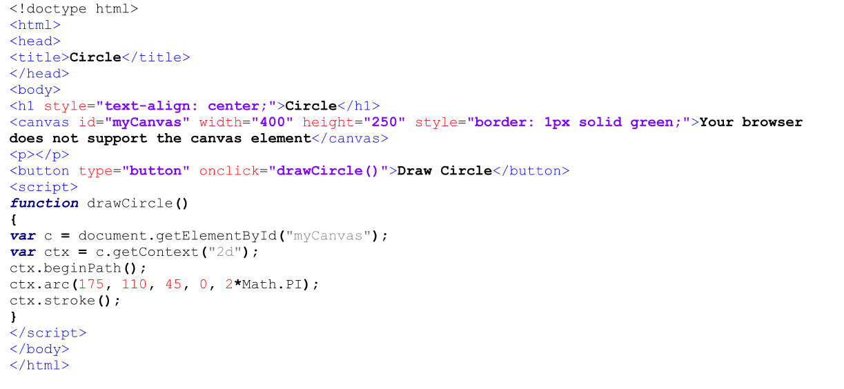 HTML Code for Canvas Element  JavaScript Code for Drawing