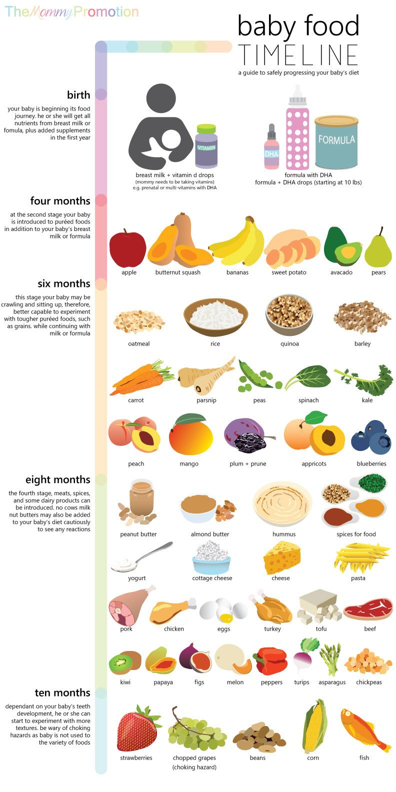 Baby Food Timeline Allowed Foods for Baby, Birth to 10
