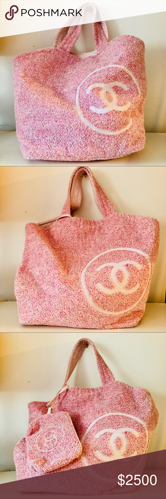 b962bf456 Chanel pink toweling tweed beach bag Brand new Chanel beach bag. Comes with  small detachable pouch and towel. Reversible. CHANEL Bags Totes