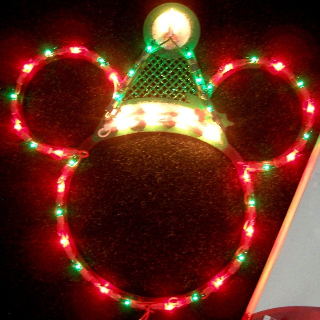 4a09b4cbe2673 Disney~ santa mickey mouse ears lighted christmas decoration~new ...
