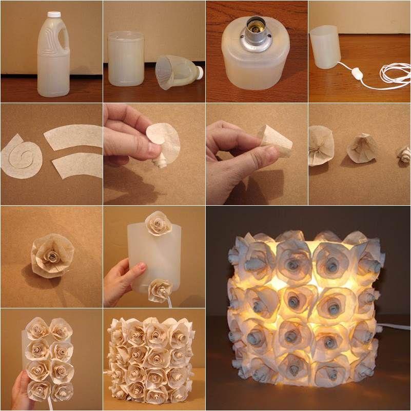 How to diy plastic bottle rose lamp diy plastic bottle for Recycled crafts from plastic bottles
